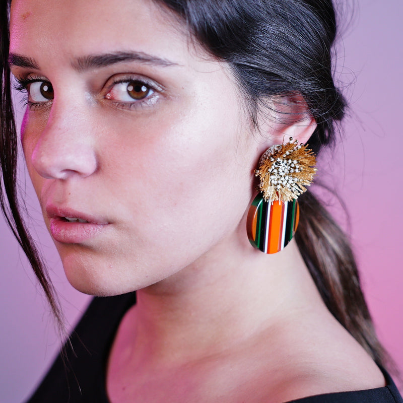 Multicolored Resin Earrings w/ Tassels