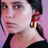 Multicolored Resin Earrings w/ Red Tassels
