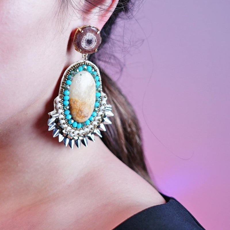 Multicolored Stones & Crystal Earrings