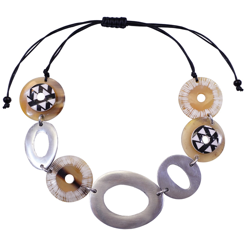 Horn & Metal Necklace with Patterns