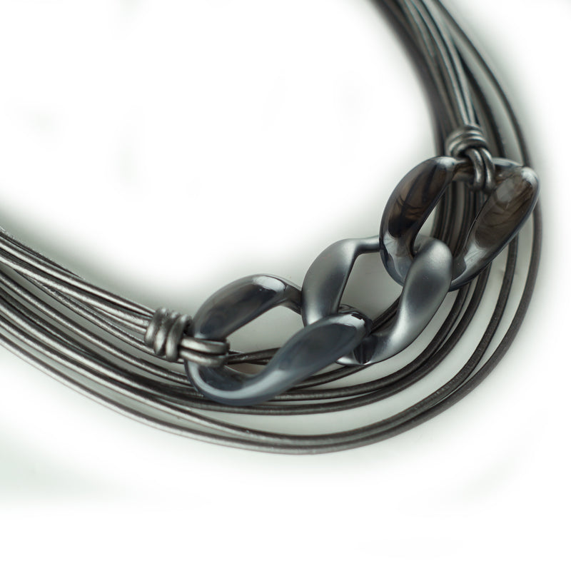 Gunmetal Leather Necklace w/ Gunmetal Details