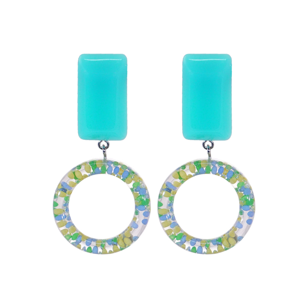 Blue Earrings w/ Multicolor Hoop