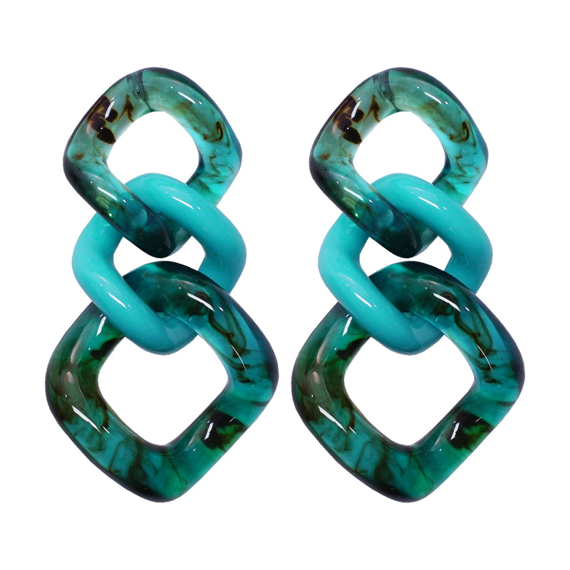 Green & Blue Transparent Earrings