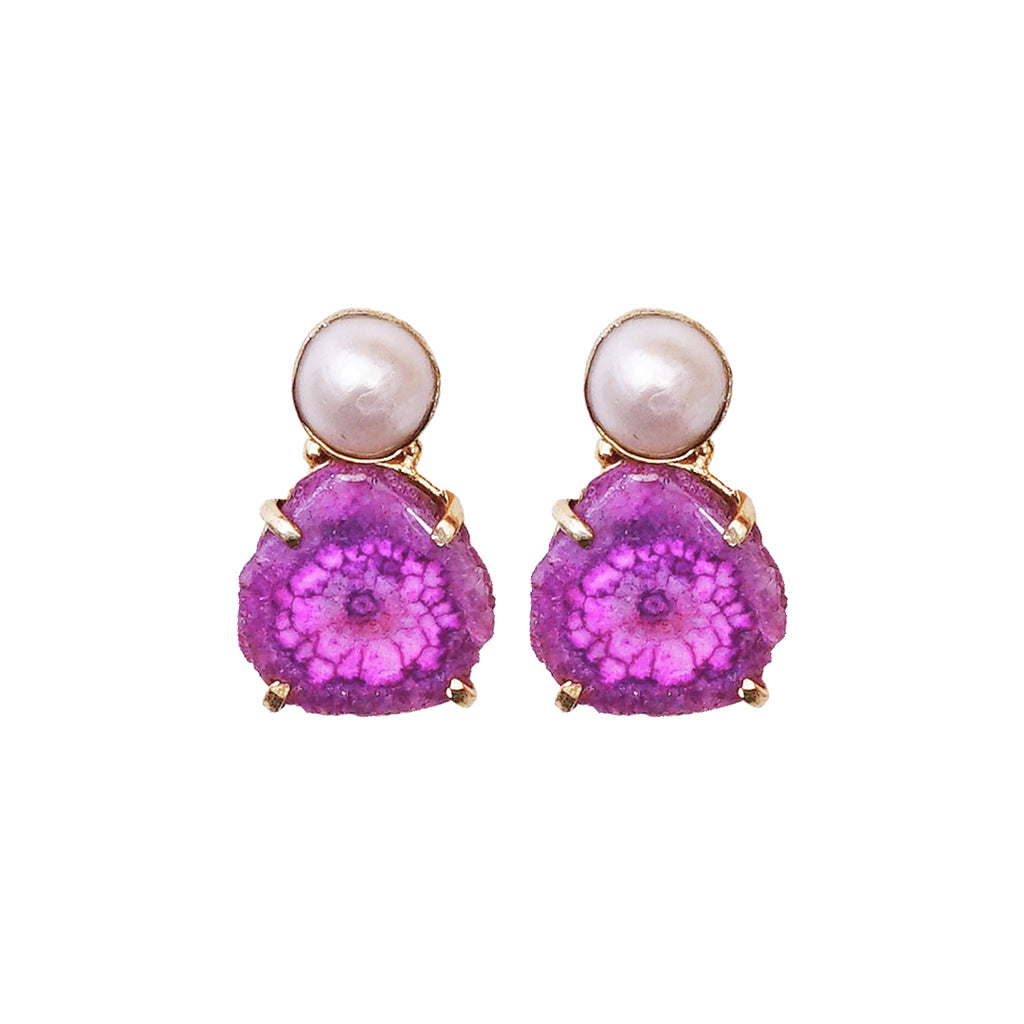 Pink Stone & Pearl Earrings