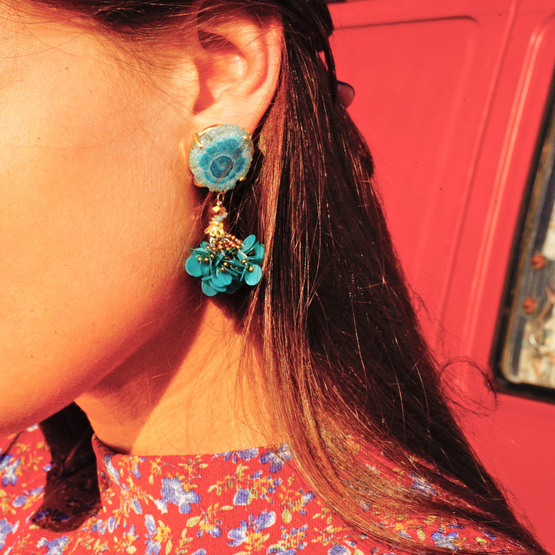 Golden Earrings w/ Blue Stone and Sequins