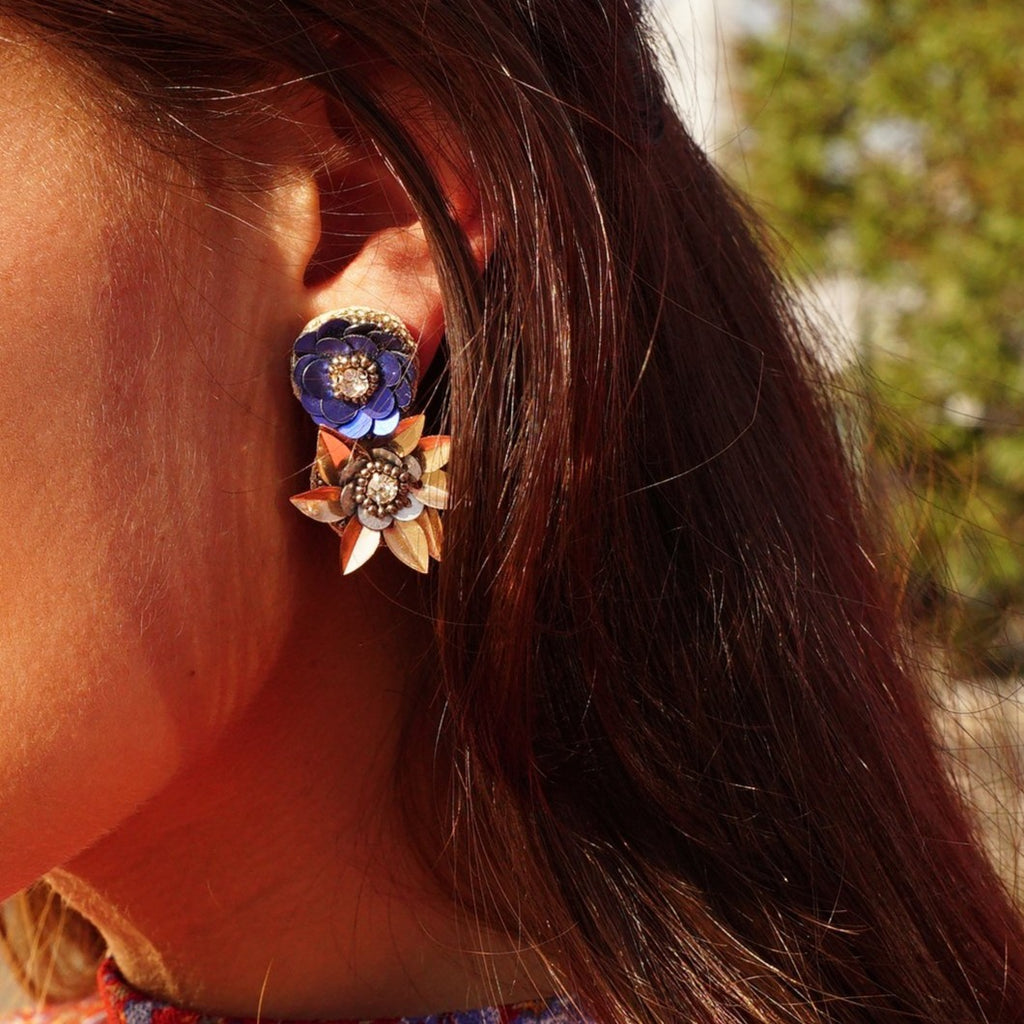Golden and Blue Flower Earrings