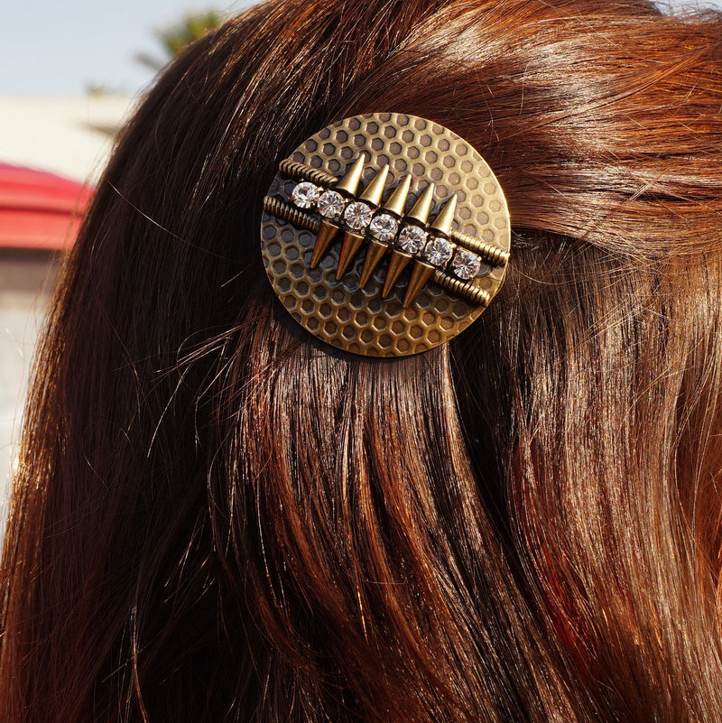 Brass Hairclip w/ Crystals