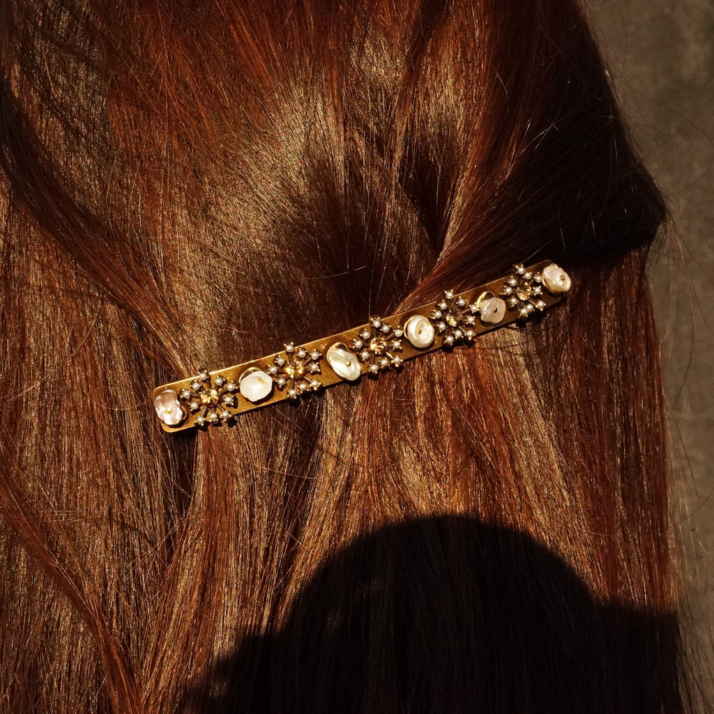 Brass Hairclip w/ Crystals & Mother of Pearl