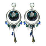 Silver, Green & Blue Earrings