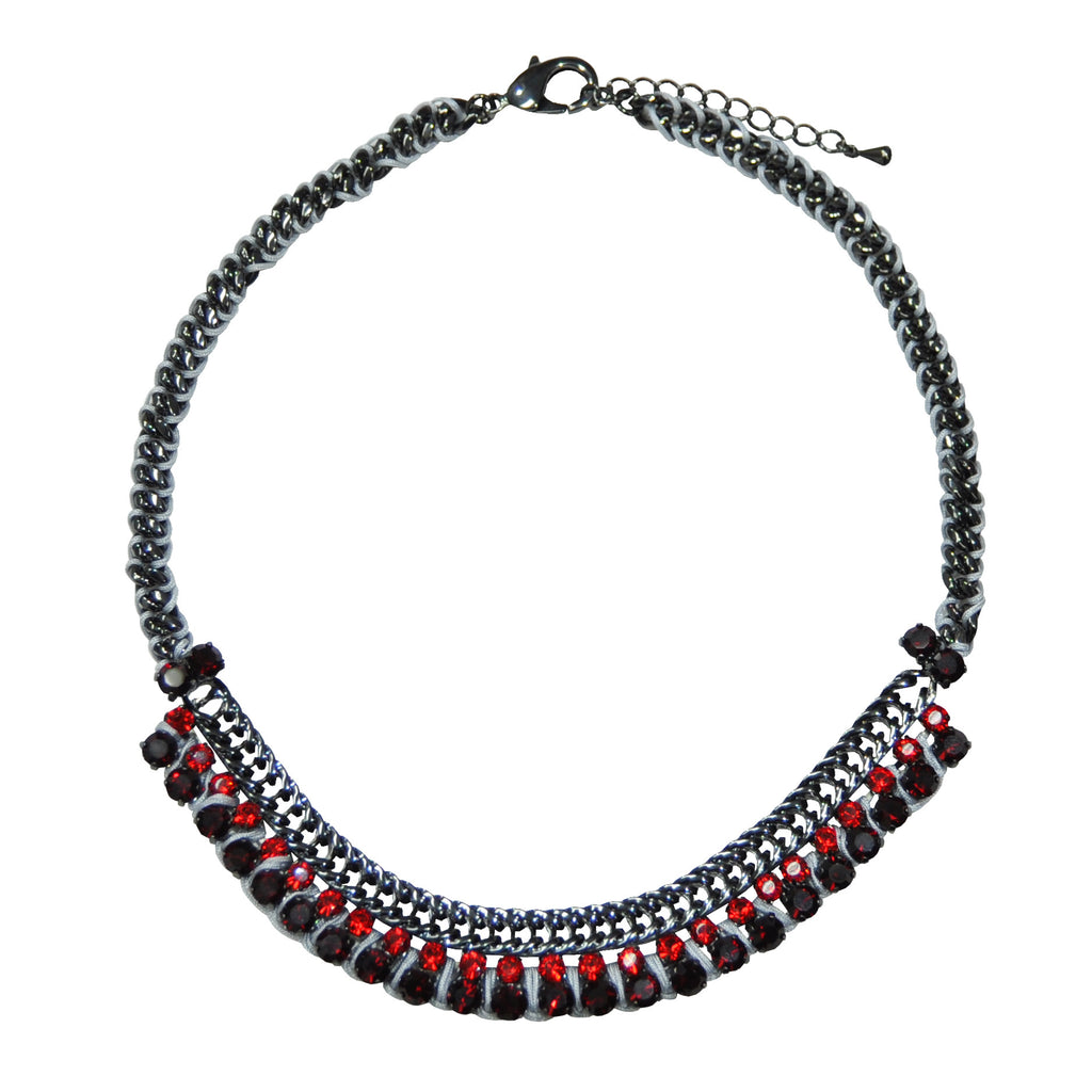 Necklace with Red Crystals