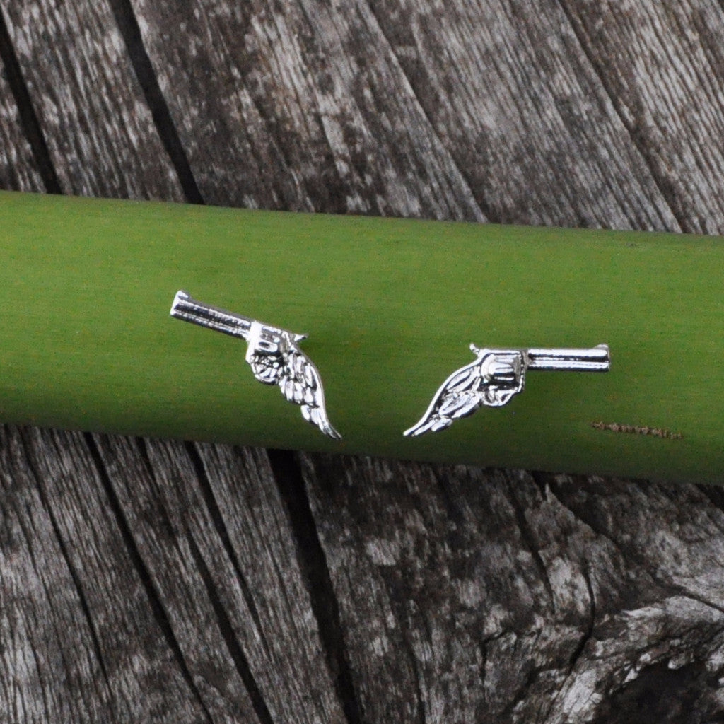 Small Silver Gun Earrings