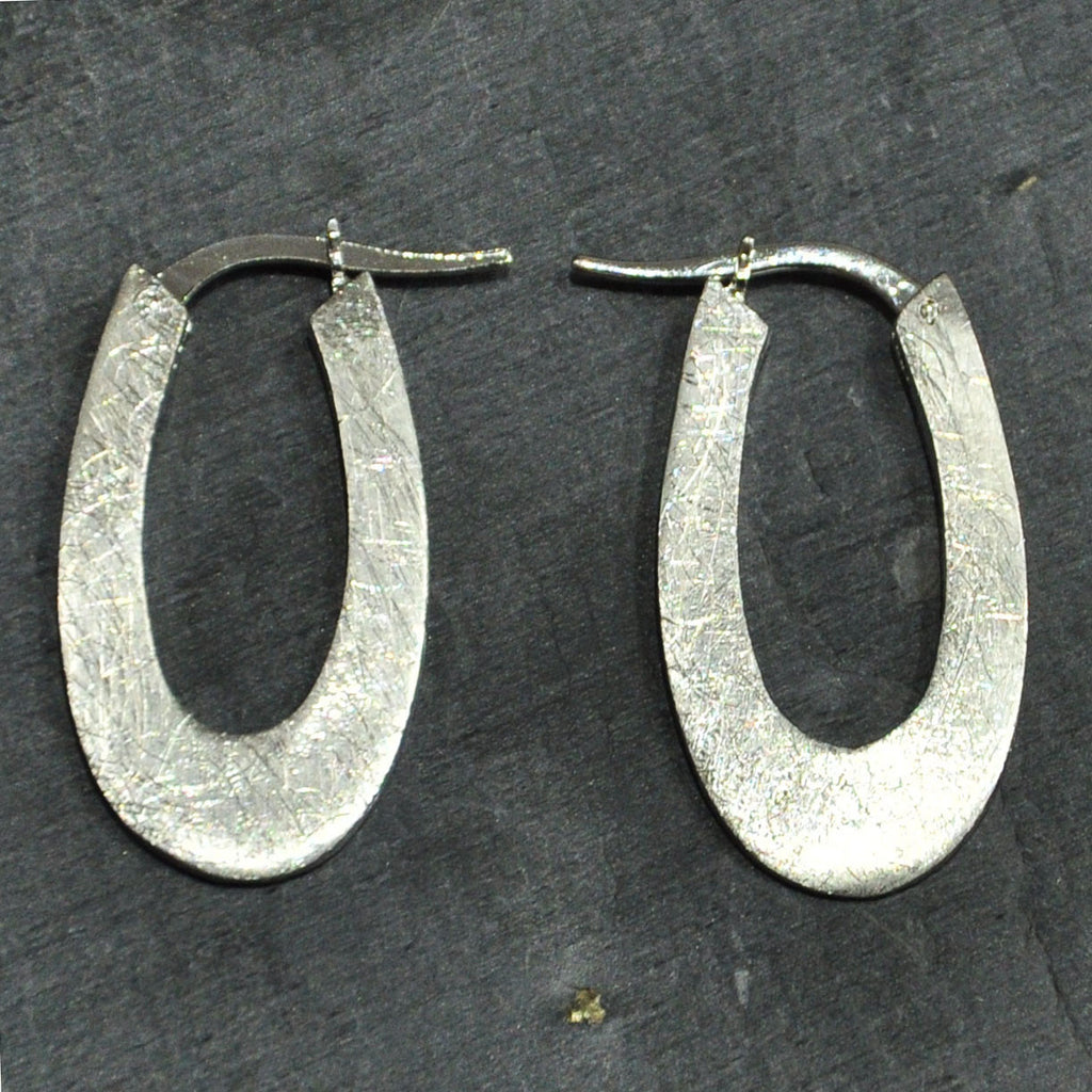 Scratched Silver Hoop Earrings