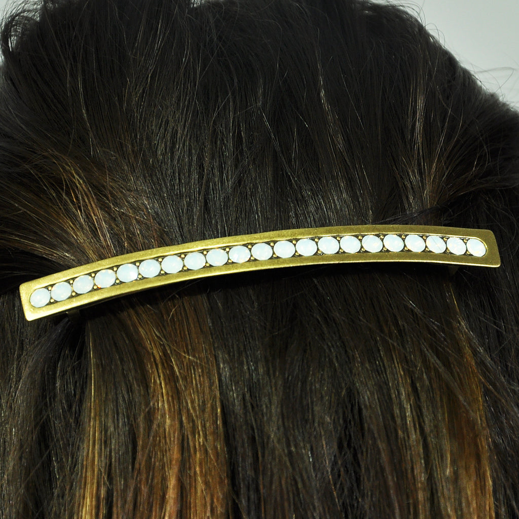 Golden Hairclip w/ Opal Crystals