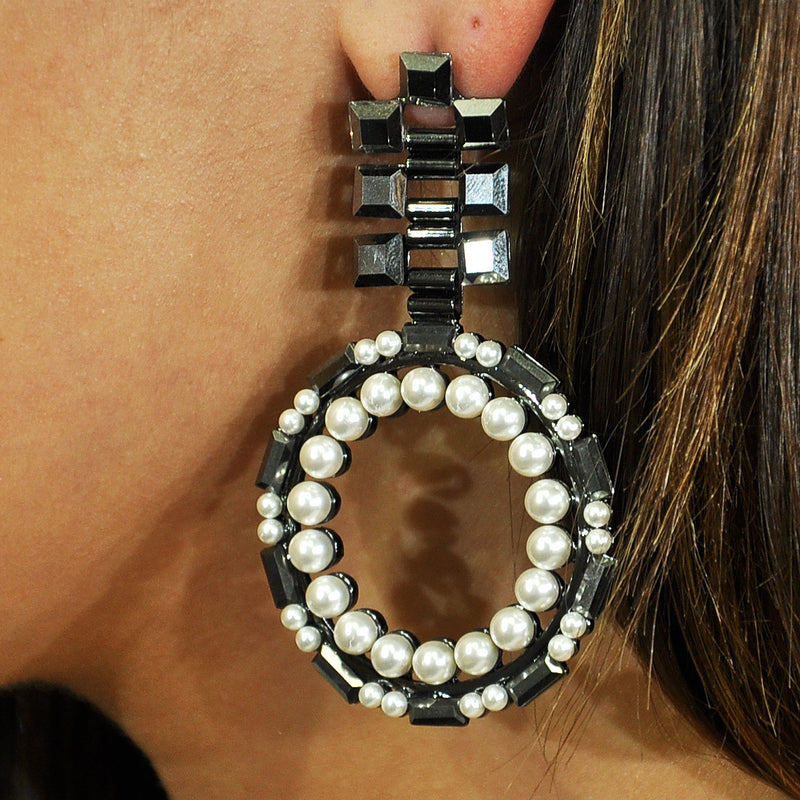 Black Crystal & Cultured Pearl Earrings