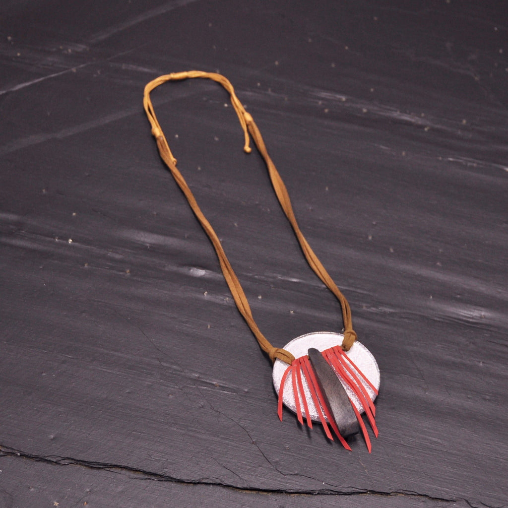Wood Silver Necklace with Red Fringe