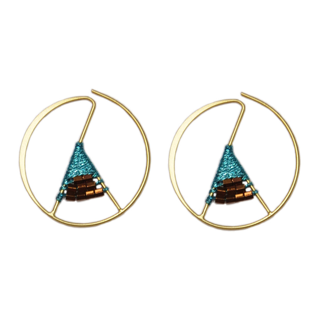 Gold & Blue Earrings