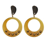 Round Horn Earrings with Bronze detail