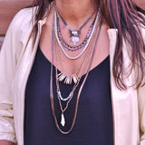 Long Black and Silver Necklace