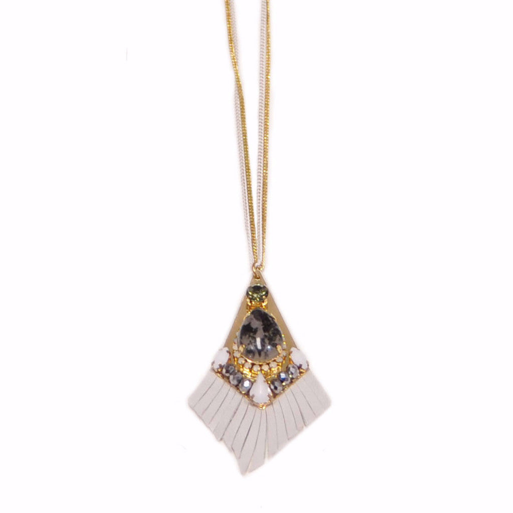 White Fringes Gold Necklace