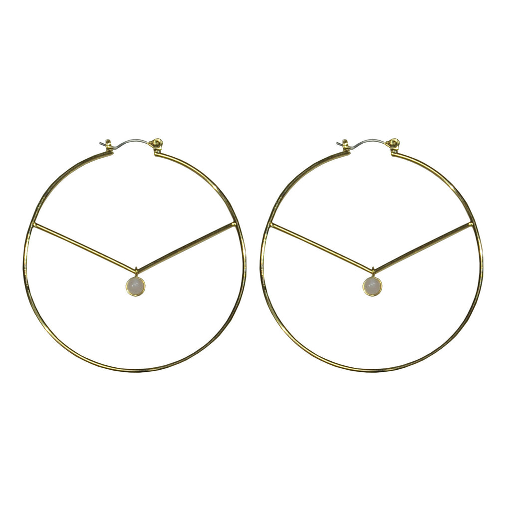Gold Hoop Earrings with Pendant