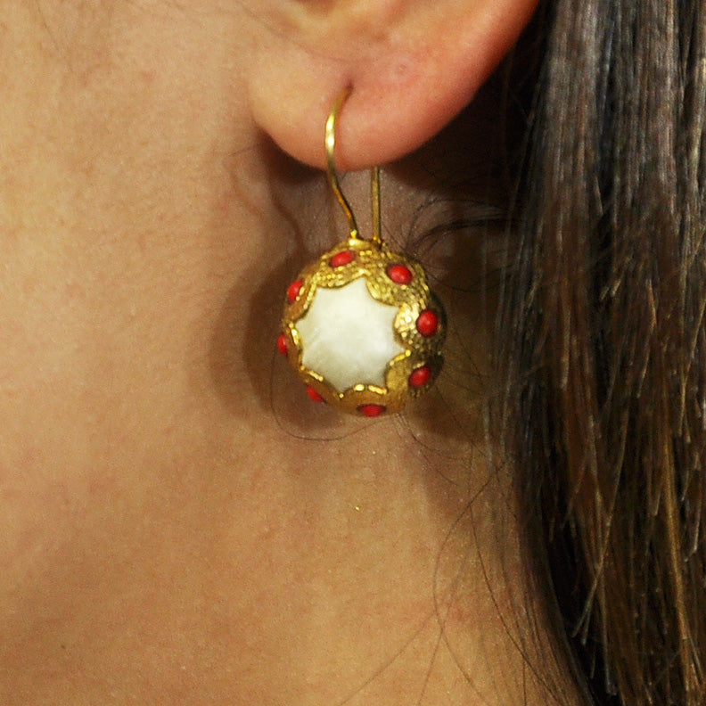 Golden Earrings w/ White Silk & Coral Stones