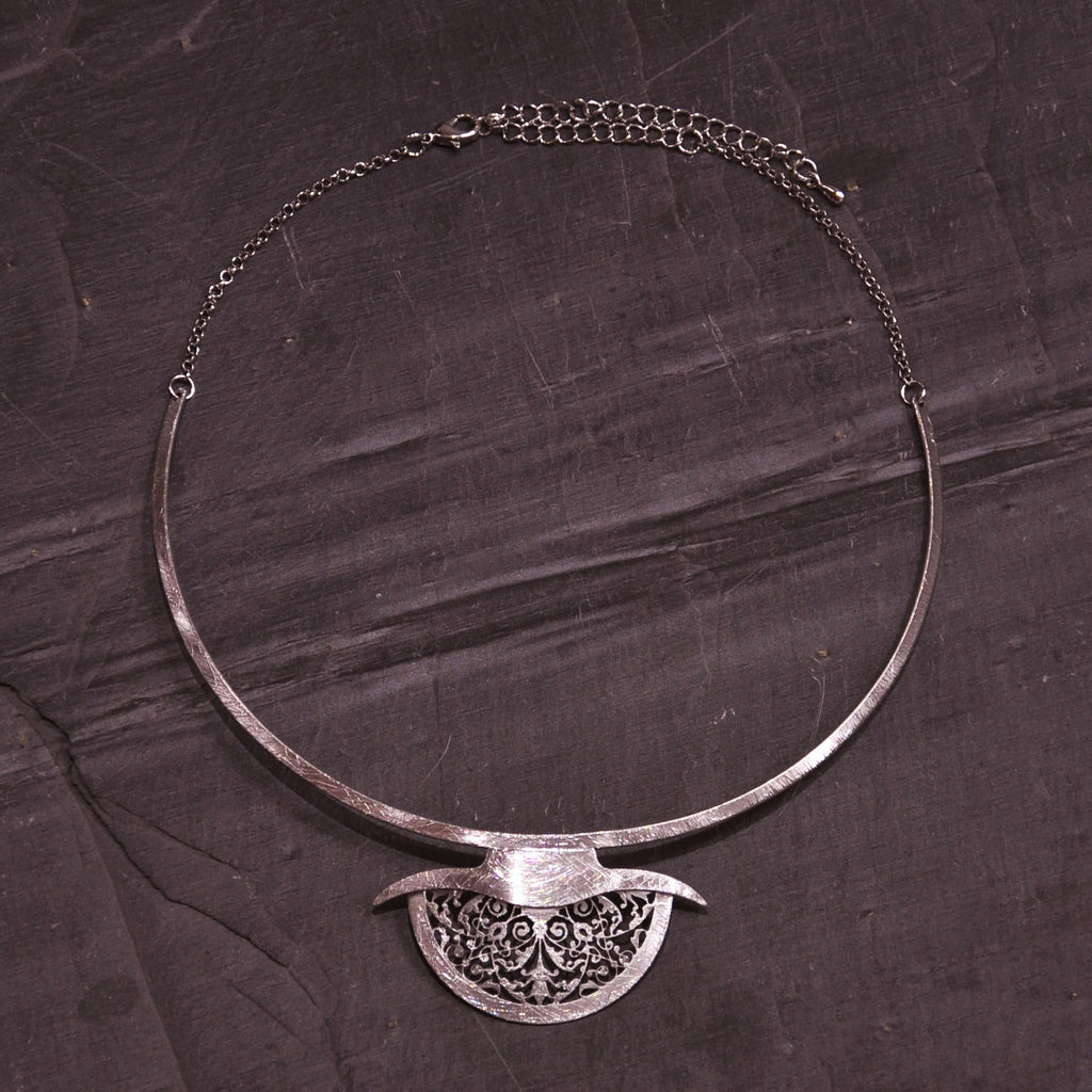 Scratched Silver Necklace