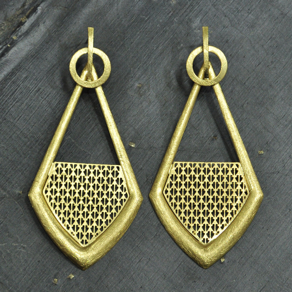 Scratched Gold Earrings
