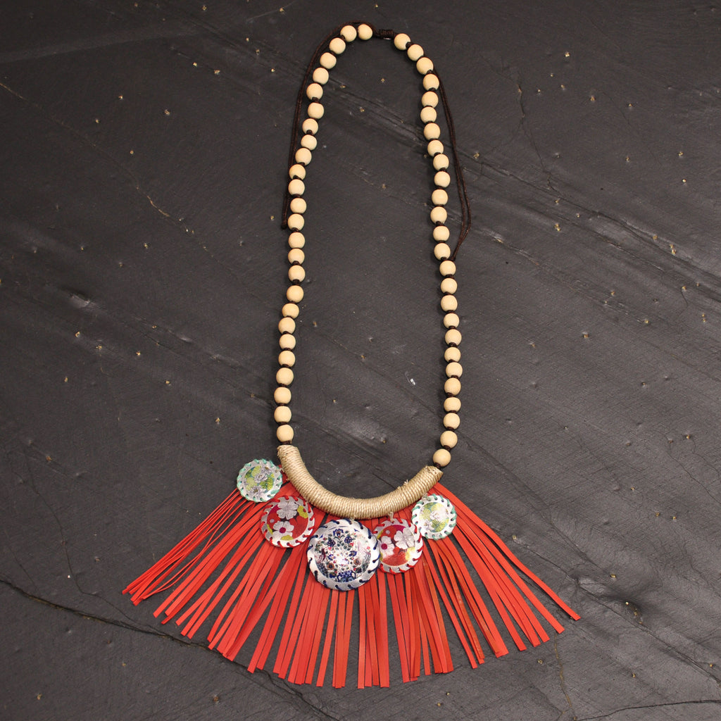Necklace with Red Fringe