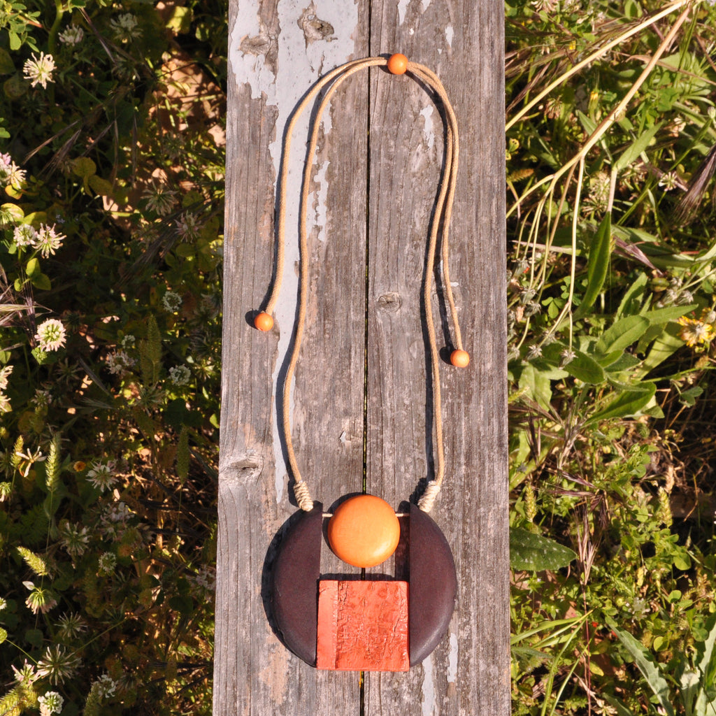 Orange Wood Necklace