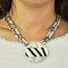 Grey Leather Necklace w/ Silver & Fur Pendant