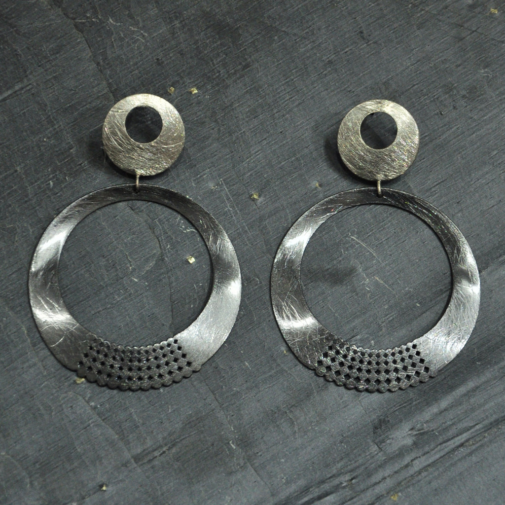 Gun Metal & Silver Earrings