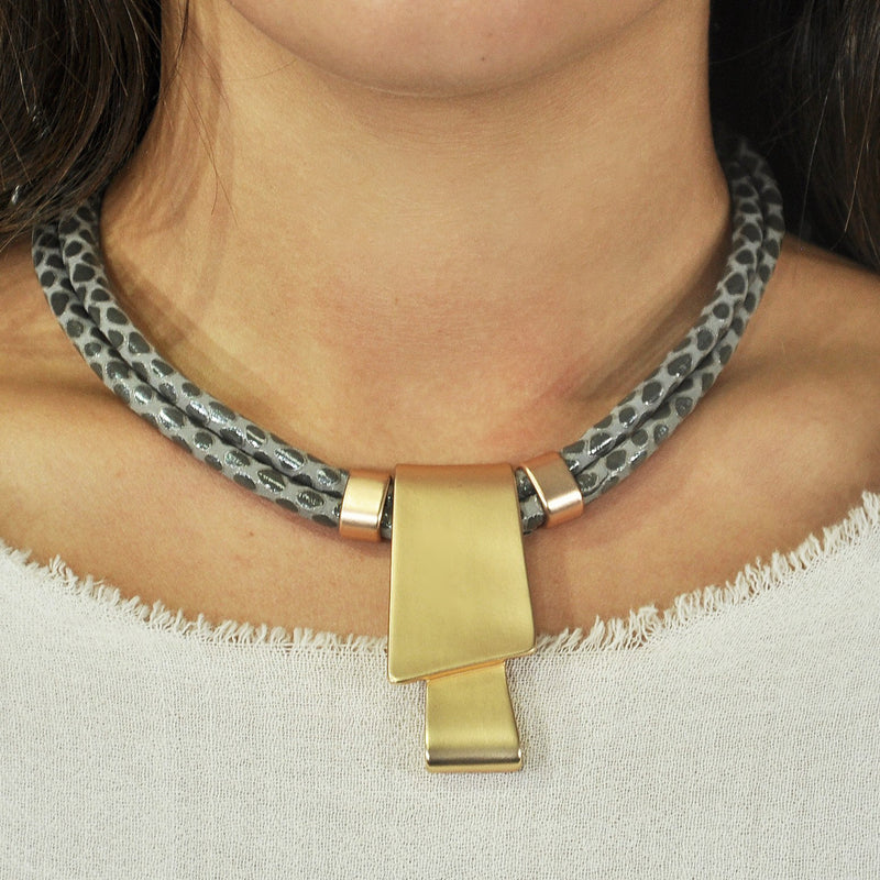 Grey Leather Necklace w/ Golden Pendant