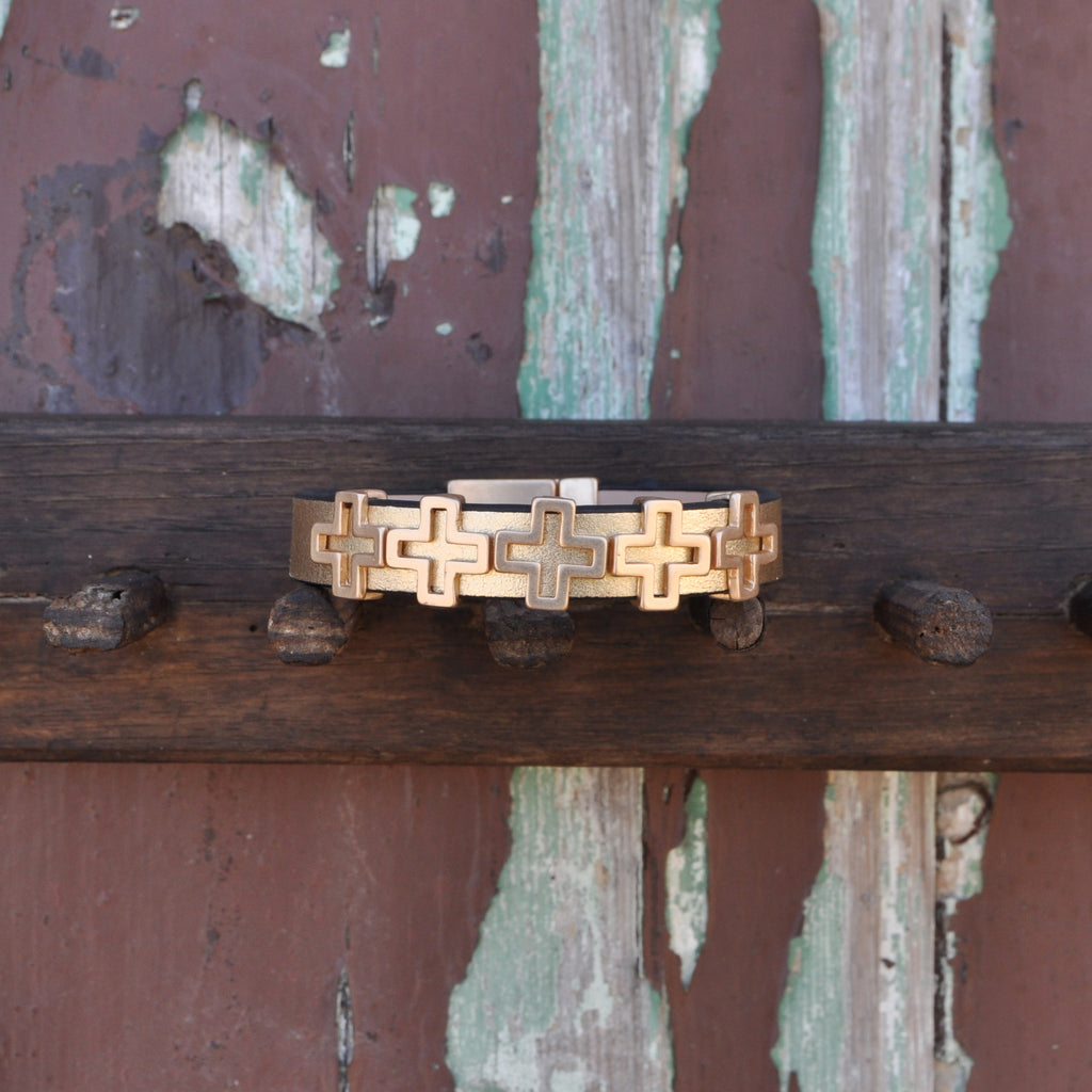 Gold Bracelet with Crosses
