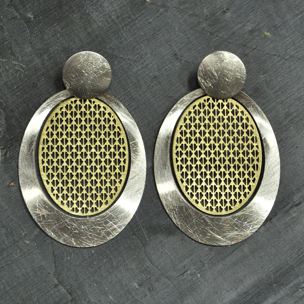 Scratched Gold & Silver Round Earrings