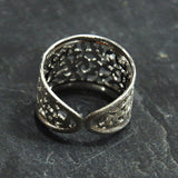 Scratched Rhodium Ring