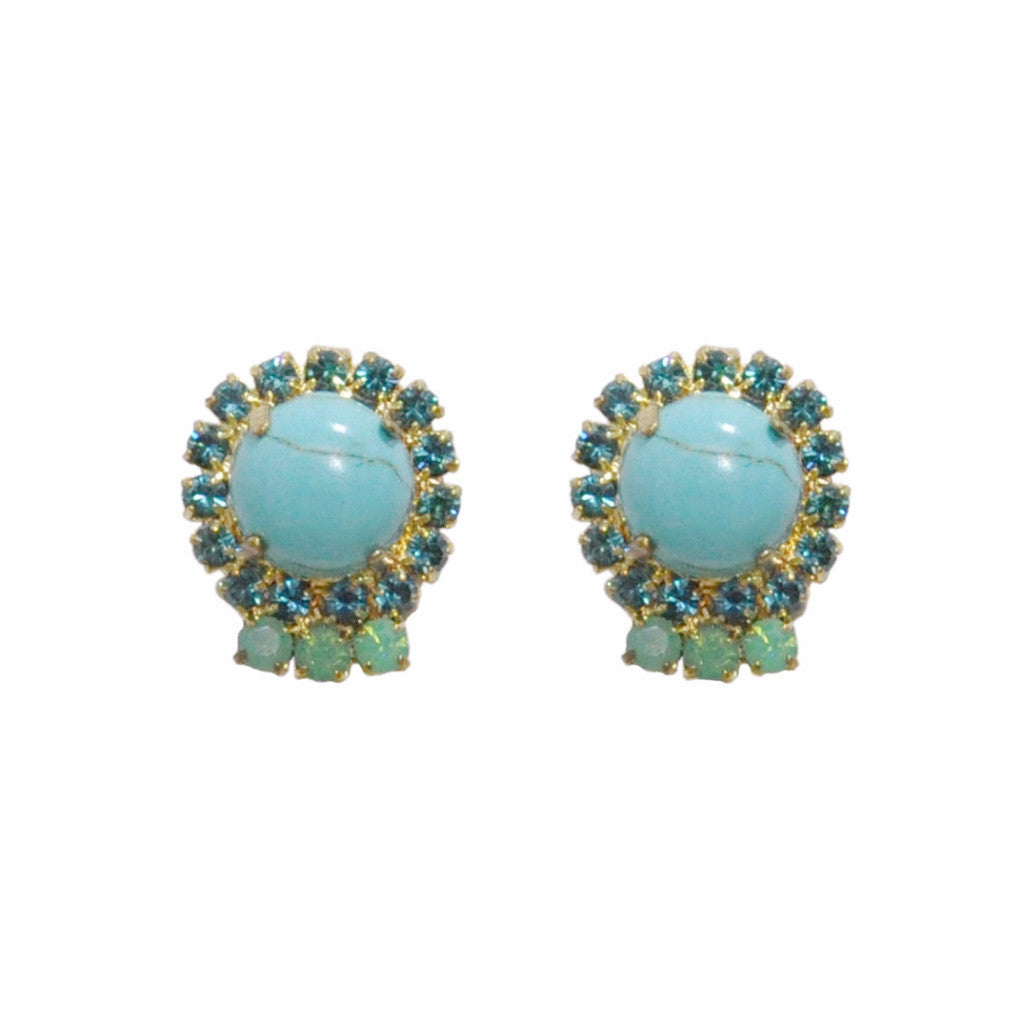 Turquoise Crystals Earrings