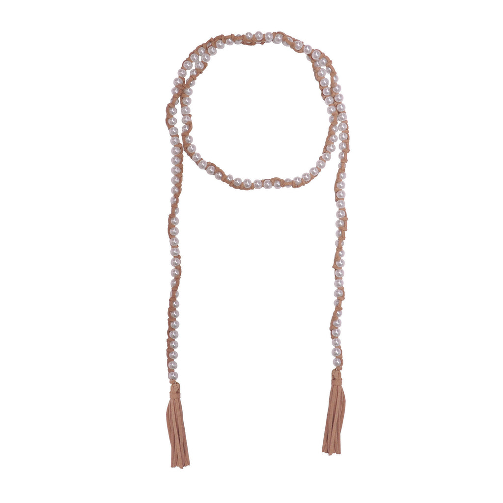 Pearls Necklace with Brown Leather Tassel