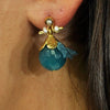 Golden Earrings w/ Blue Jade & Silk Tassels