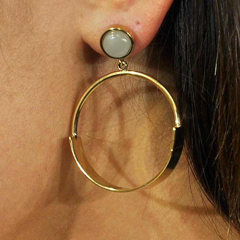 Gold & Grey Round Earrings