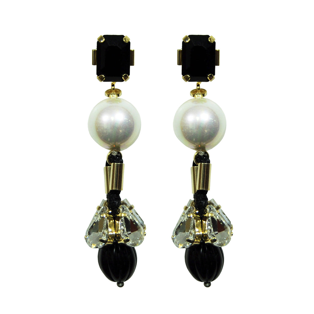 Black Earrings with Crystals & Pearl