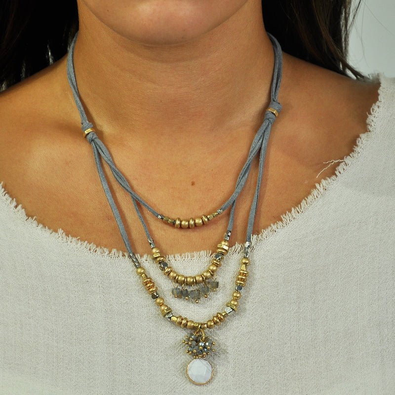 Grey Suede Necklace w/ Crystals & Stone