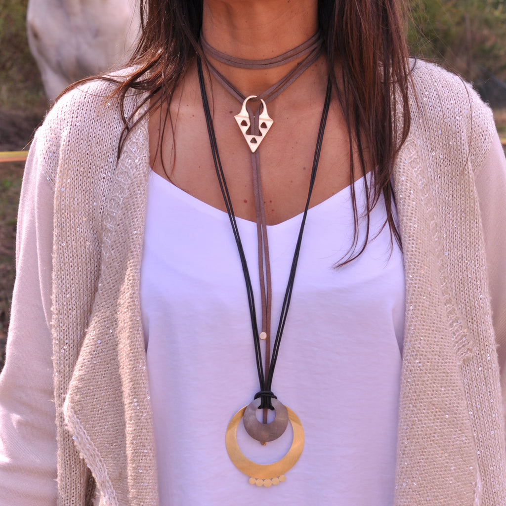 Black Necklace with Gold & Gun Metal Pendant