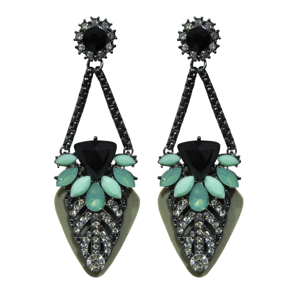 Green Earrings with Crystals