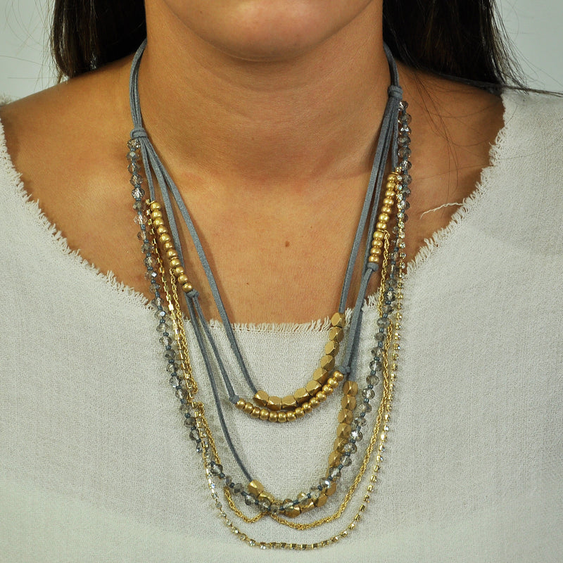 Grey Necklace w/ Golden Details & Crystals