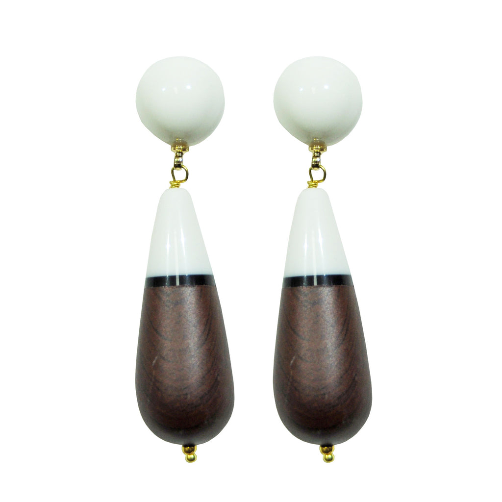 White & Brown Earrings