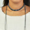 Grey Necklace w/ Crystals & Suede Tassels