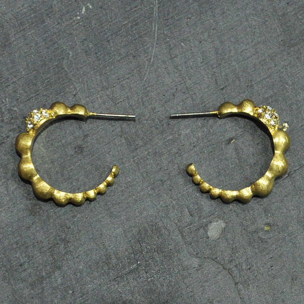 Scratched Gold Earrings with Crystals
