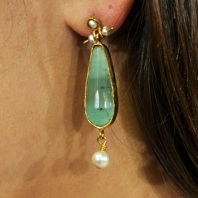 Golden Earrings w/ Turquoise Stone & Cultured Pearls