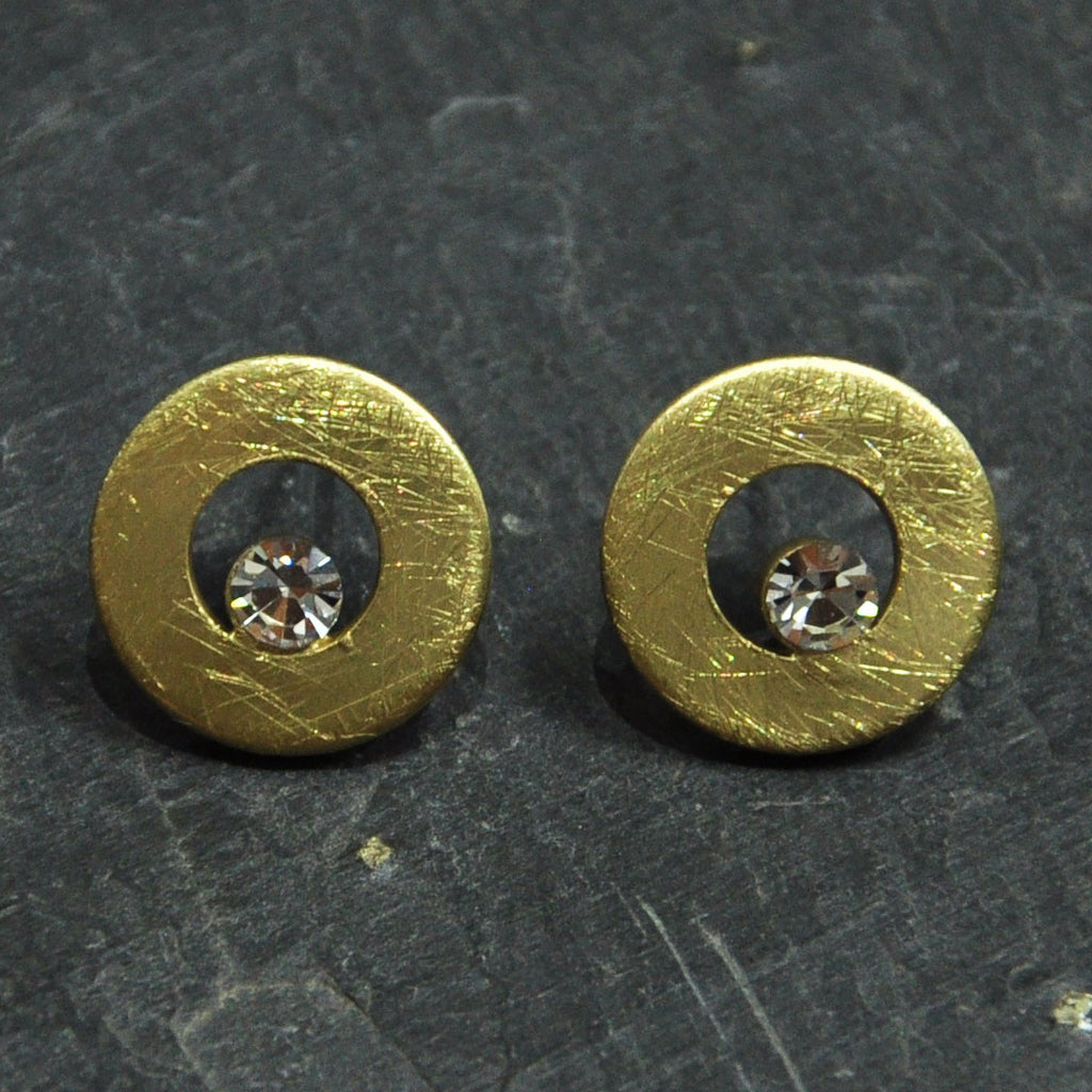 Scratched Gold Earrings with Crystal