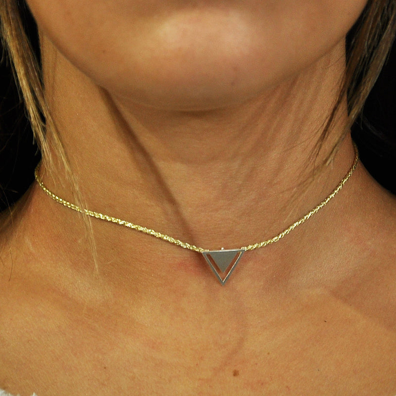 Golden String w/ Silver Pendant